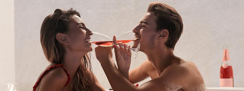 Drinking Champagne In Bath